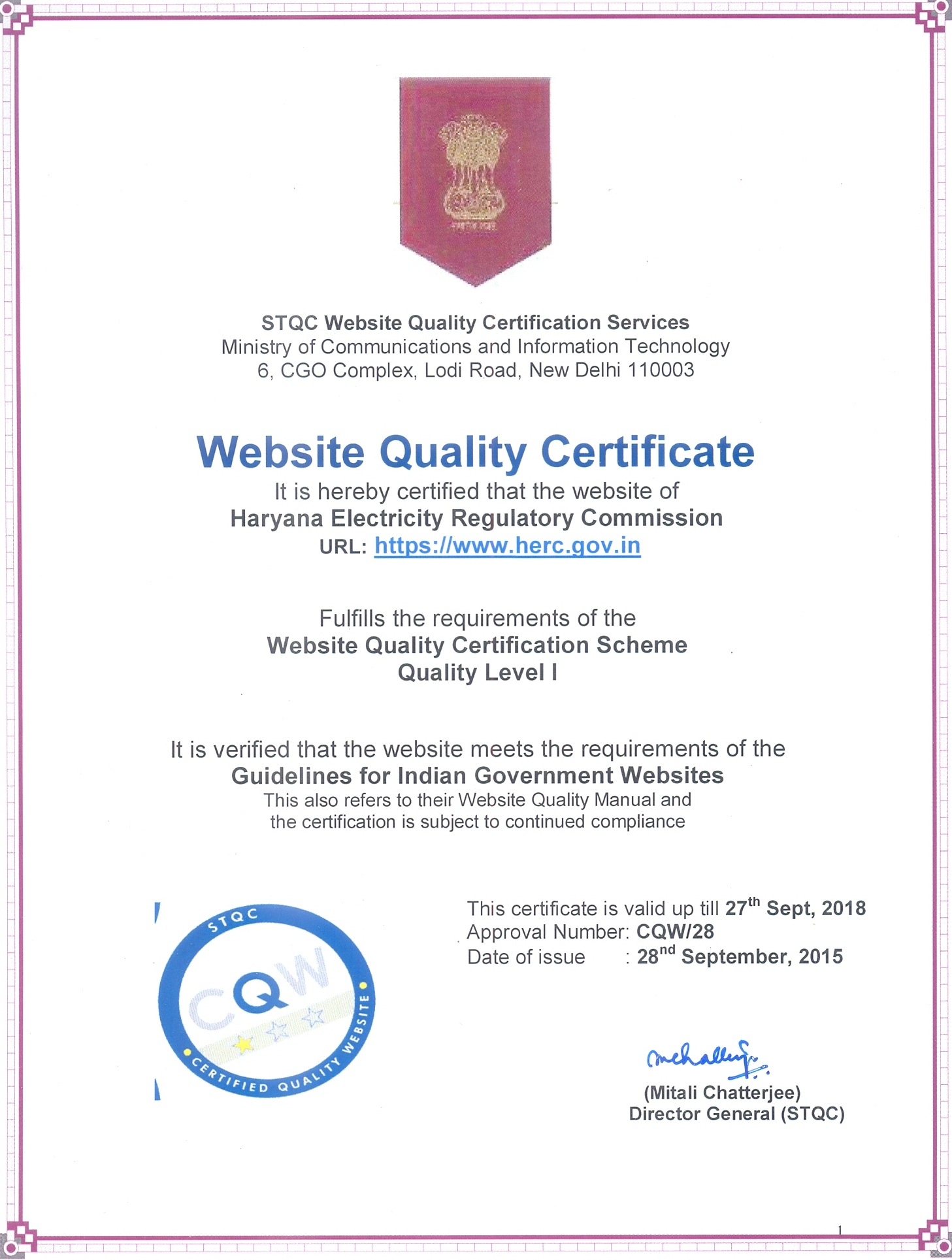 Certified Quality Website Certificate